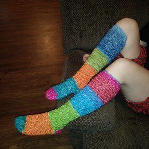 homemade crocheted knee high socks